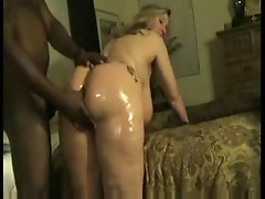 Housewife oiled up and fucked lovely