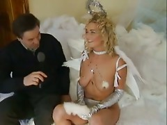 British slut Donna Marie gets fucked dressed as an angel