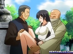 Hentai girl double penetration in the outdoor