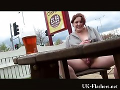 Upskirt and voyeur of English redhead amateur