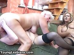 Extreme grandma having lesbian sex