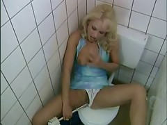 German blonde milf bonks stranger in public washroom