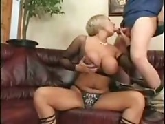 Busty Blonde Mature Mom Fucks, Sucks and Gives Tits to a Young Guy
