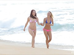 Melody and Lena play butt naked on the beach