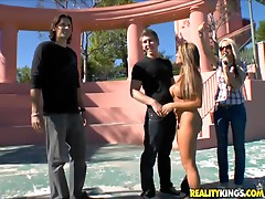 Blonde milf's fucked outdoors by a horny stud