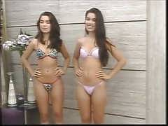 Young girls parade of lingerie for local TV station