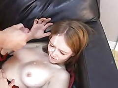 Z44B 1299 Petite Redhead gets Facial