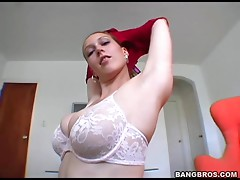 Sexy blonde takes off her clothes and jerks a guy off
