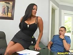 Dude fucks tight bitch & shoots jizz across her big tits