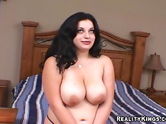Bust brunette loves sucking and fucking big cocks