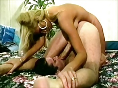 Vintage selfsuck with woman, cumshot in own mouth