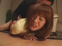 Yuma Asami surprised in her living-room