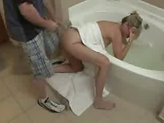 Surprise for his StepMom in Bathroom
