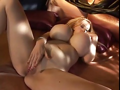 milf huge fake juggs plays with her dildo