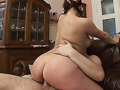 Chubby doll with big titties fucked on the couch