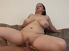 BBW slut with big tits fucked and facialized