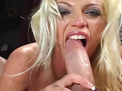 Blonde with big tits getting fucked hard after sucking rod meat