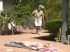Sexy blonde babe getting fucked by the pool guy