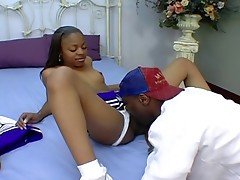 Sexy ebony cheerleader gets her choco pussy licked and fucked