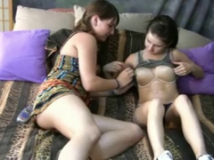 Two sexy teen girls discovering lesbian sex together