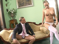 Busty blonde school girl Mia Leone gets a load of cum on her big tits