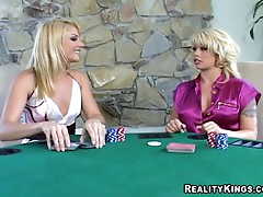 Hot blondes fuck with a strapon after a game of poker