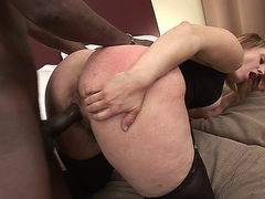 Blonde slut gets her hairy pussy fucked in interracial action