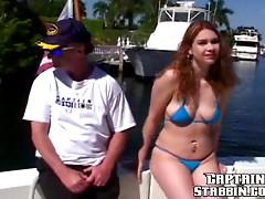 Slutty bitch sucks dick and gets stuffed hard