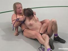 Two naked sluts wrestlin' on the floor