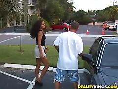 Slutty bitch sucks on a hard cock