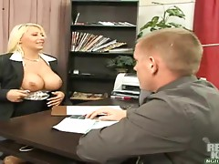 Blonde bitch sucks cock & gets nailed in the pussy