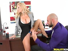 Stunning blonde milf with big tits gets fucked
