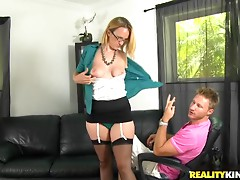 Horny milf sucks on a hard cock and gets nailed
