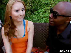 Gorgeous blonde teen gets nailed by a black monster cock