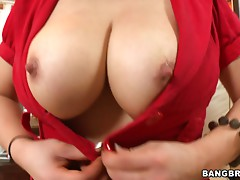 Dumbass whore with big tits rides a cock