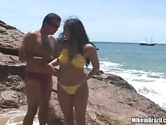 Brazilian teen's nailed on the beach by horny guy