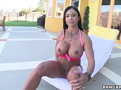 Body building milf is fucked hard by a large cock outdoors