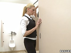 Hot waitress rides a costumer's large cock in the bathroom