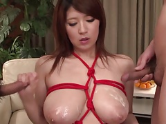 Rina Araki boobs covered in cum