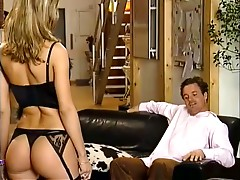 Rough anal sex with a sexy blonde wearing lingerie