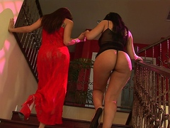 Two sexy lesbian sluts fuck with dildos and sex toys