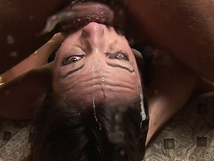 Amber Rayne endures a hardcore rough mouth fuck