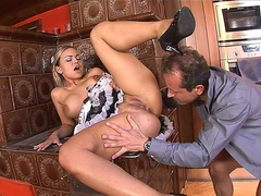 Dirty blonde slut maid takes it up her tight asshole