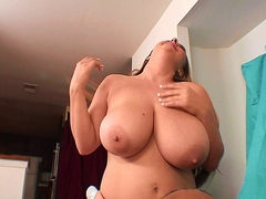 Sexy white chick with big tits enjoys a big black cock in interracial action