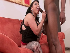 Latina MILF babe sucks black dick and gets an interracial fuck