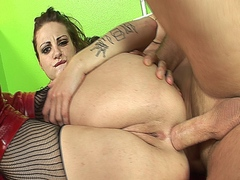 Hardcore anal bitch in lingerie getting her asshole widened out with cock