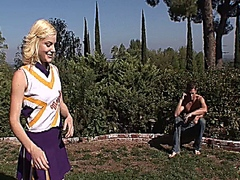 Hot blonde cheerleader getting pussy drilled outside