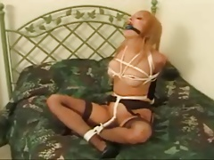 Cute Slim Blondie Bound & Gagged In Bed