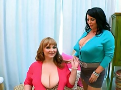 Big tit lesbians in retro lingerie