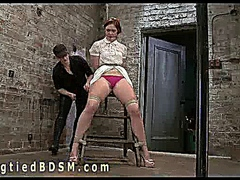 Bound babe gets ass hook and pounding